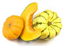 Tre varietà delle zucche Immagine Stock