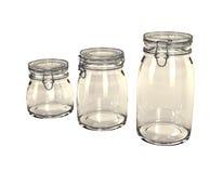 Tre vasi di conservazione vuoti. Immagini Stock