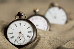 Tre vecchi orologi da tasca Fotografia Stock Libera da Diritti