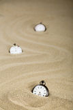 Tre vecchi orologi da tasca, formato verticale Immagine Stock