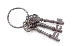 Tre vecchie chiavi insieme Immagini Stock