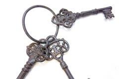 Tre vecchie chiavi allegate ad un anello Fotografia Stock Libera da Diritti