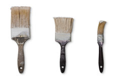 Tre vecchie spazzole usate Png disponibile Immagine Stock
