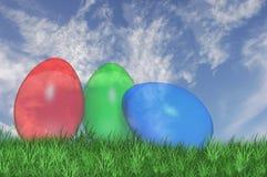 Tre vedono le uova di Pasqua della depressione Fotografie Stock Libere da Diritti