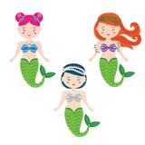 Tre vektorsjöjungfruar i tecknad filmstil stock illustrationer
