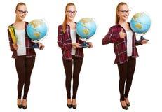 Tre versioni di giovane insegnante con il globo Fotografie Stock Libere da Diritti