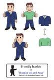 Tre versioni di un uomo d'affari amichevole Giving pollici su Fotografia Stock