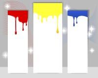 Tre vertikala baner med genomblöt målarfärg. Arkivbilder