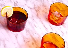 Tre vetri arancio fotografia stock libera da diritti