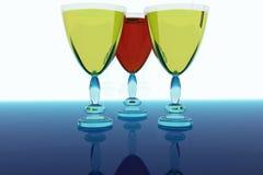 Tre vetri con vino. Fotografia Stock