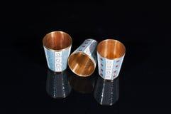 Tre vetri del metallo dell'oro Fotografia Stock Libera da Diritti