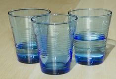 Tre vetri di acqua fotografie stock libere da diritti