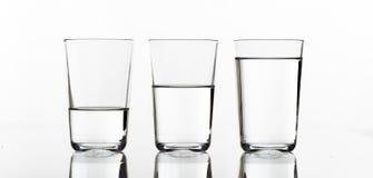 Tre vetri di acqua Fotografia Stock