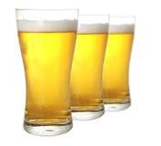 Tre vetri di birra Immagini Stock