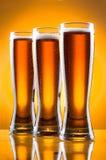 Tre vetri di birra Fotografie Stock Libere da Diritti