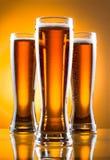 Tre vetri di birra Fotografia Stock