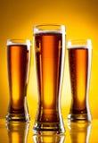Tre vetri di birra Immagini Stock Libere da Diritti
