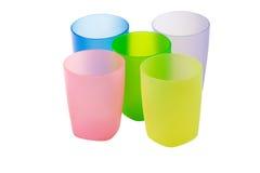 Tre vetri di colore isolati su una priorità bassa bianca Fotografie Stock Libere da Diritti