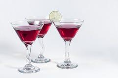 Tre vetri di Martini rosso Immagine Stock Libera da Diritti