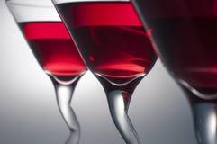 Tre vetri di Martini rosso Fotografia Stock Libera da Diritti