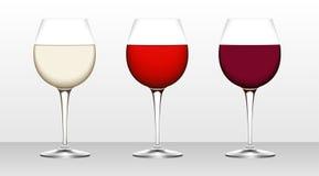 Tre vetri di vino. Fotografia Stock