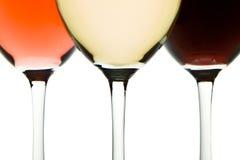Tre vetri di vino Immagini Stock