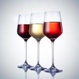 Tre vetri di vino con il percorso di residuo della potatura meccanica Fotografia Stock Libera da Diritti