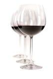Tre vetri di vino rosso Fotografia Stock
