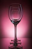 Tre vetri di vino su un fondo di Borgogna Fotografie Stock Libere da Diritti