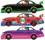 Tre vetture da corsa e autisti Fotografie Stock Libere da Diritti