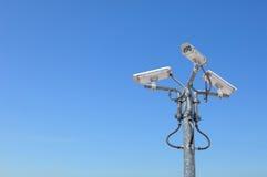Tre videocamere di sicurezza esterne Immagine Stock Libera da Diritti