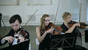 Tre violinisti e conduttore che giocano musica stock footage