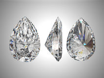 Tre viste del diamante della pera Fotografia Stock