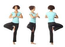 Tre viste di una posa di yoga Fotografia Stock