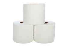 Tre vita toalettrullar Arkivfoton