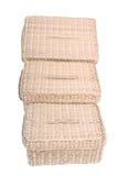 Tre wattled i cestini isolati su priorità bassa bianca Immagini Stock Libere da Diritti