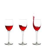 Tre wineglasses Arkivbilder