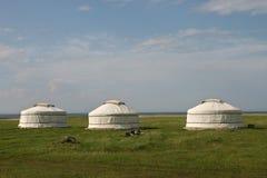 Tre yurts Fotografia Stock Libera da Diritti