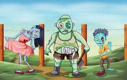 Tre zombie spaventosi Fotografie Stock Libere da Diritti
