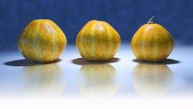 Tre zucche fotografia stock