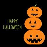 Tre zucche divertenti. Carta di Halloween. Fotografie Stock Libere da Diritti