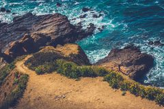 Treacherous cliffs of Flat Rock Point. Hiking trail cascading down the treacherous cliffs of Flat Rock Point, Palos Verdes Estates, California Stock Image