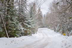 Treacherous Driving Conditions on a Winding Forest Road. Slippery iced road during a heavy snowstorm Stock Photos