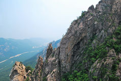 Treacherous mountain cliffs. With pointed and jagged edges Stock Image