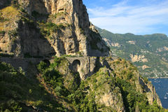 Treacherous road. Dangerous road along the side of the cliffs of the Amalfi coast in Italy Royalty Free Stock Photo