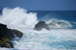 Treacherous waves. Hanakapi'ai beach on the Napali Coast, Kauai, Hawaii Stock Photo