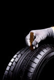 Tread depth. Car tires during service in the workshop stock photography