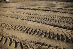 Tread marks in dirt Royalty Free Stock Photo
