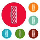 Tread pattern icons circle set vector. Isolated on white background Stock Photos