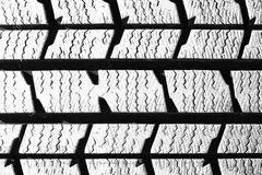 Tread pattern of an old automobile tire Royalty Free Stock Image